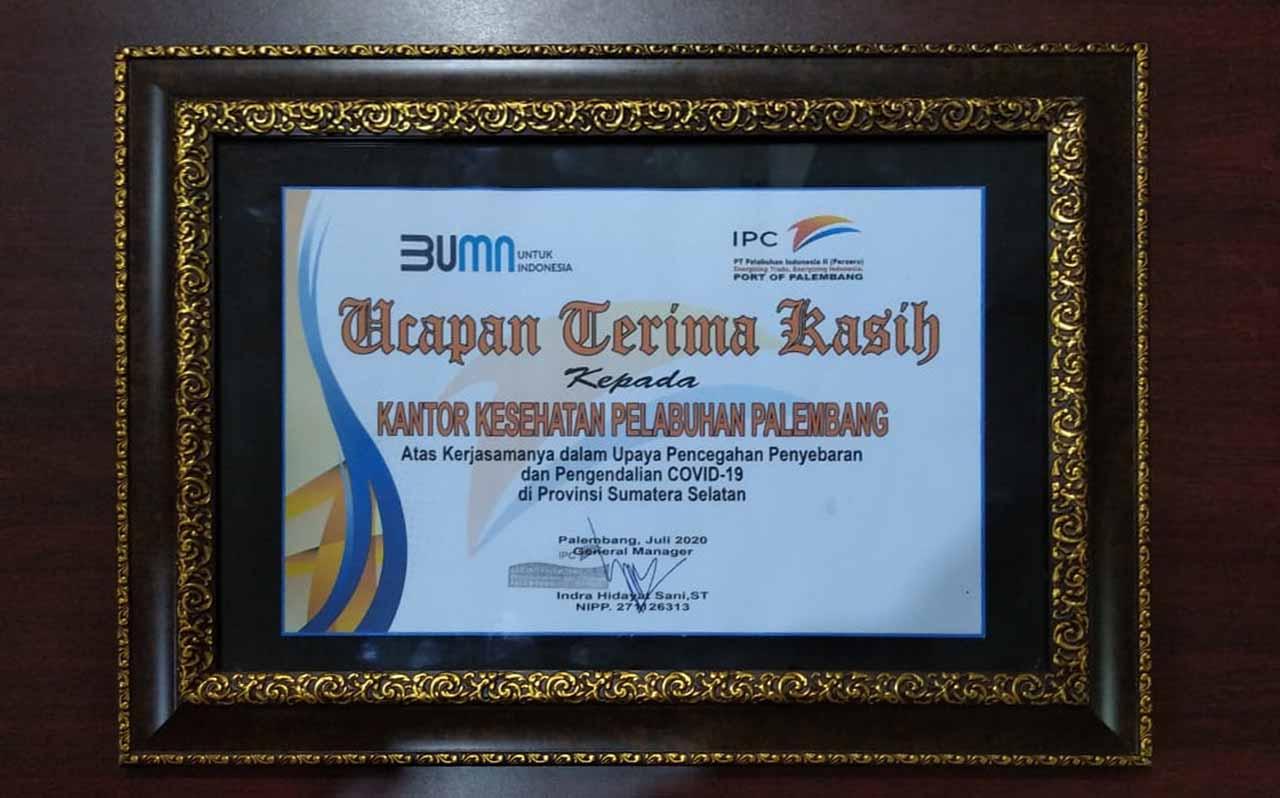 KKP Kelas II Palembang Terima Penghargaan dari PT Angkasa Pura II Palembang dan PT. Pelindo II Palembang